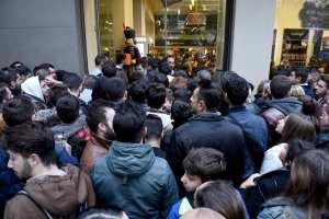 Black Friday crowds being held back
